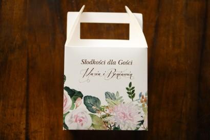 Podziękowania dla gości ślubnych - Pudełko na Ciasto weselne z motywem pastelowych, różowych dalii i róż