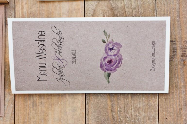 Menu weselne, stół weselny - Margaret nr 4 - Ekologiczne - Fioletowe róże