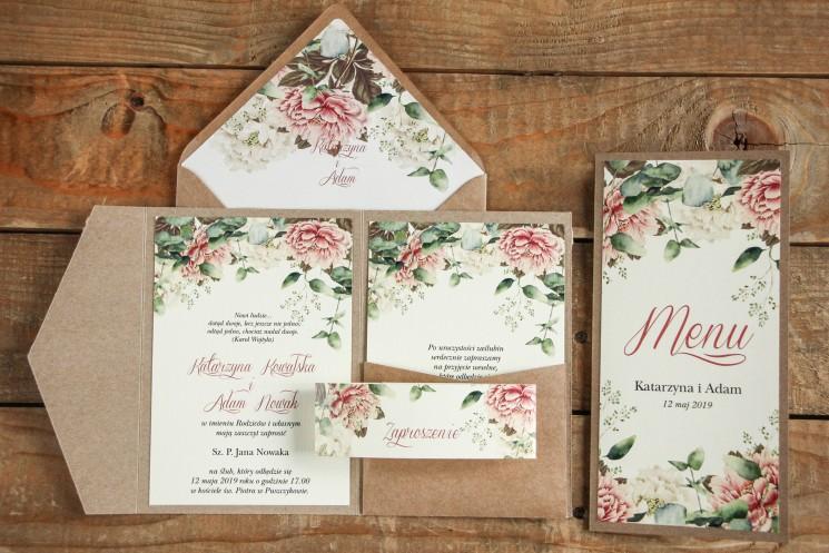 Ekologiczne zaproszenia ślubne z białymi i różowymi piwoniami, etui z kieszonką na bilecik z menu