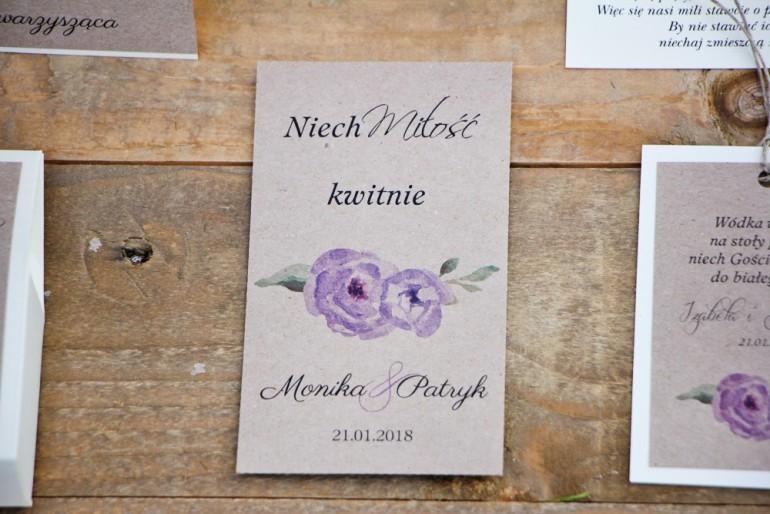 Podziękowania dla Gości weselnych - nasiona Niezapominajki - Margaret nr 4 - Akwarelowe fioletowe kwiaty