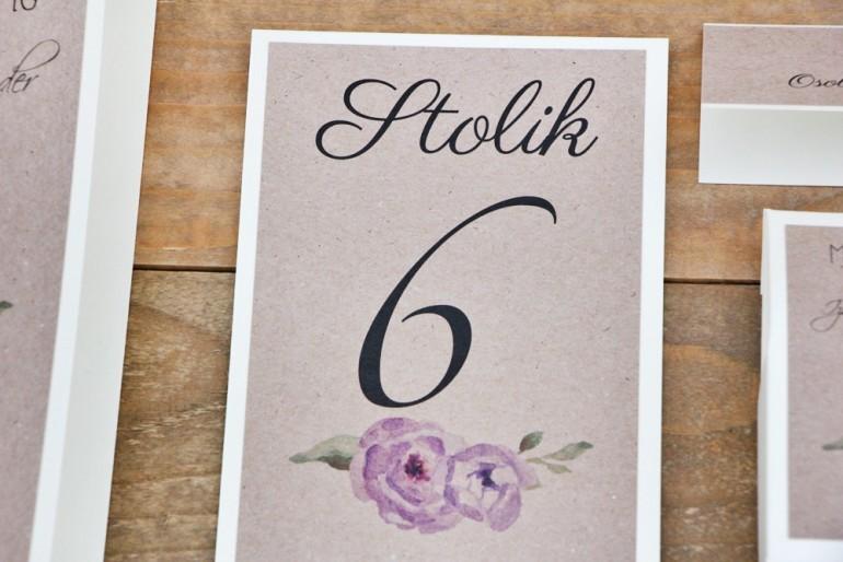 Numery stolików, stół weselny, ślub - Margaret nr 4 - Fioletowe kwiaty z zielenią