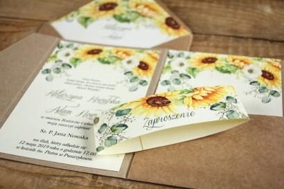 Ekologiczne zaproszenia ślubne ze słonecznikiem