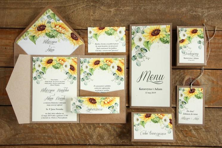 Ekologiczne zaproszenia ślubne ze słonecznikiem wraz z dodatkami i podziękowaniami dla gości
