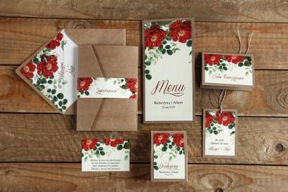 Ekologiczne zaproszenia ślubne z czerwoną chińską różą - zestaw próbny