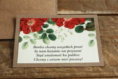 Bilecik dwuwarstwowy do zaproszeń ślubnych. Grafika z czerwoną chińską różą oraz zielonymi gałązkami