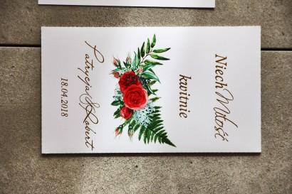 Nasiona Niezapominajki, Cykade nr 2 ze złoceniem, wzór z czerwonymi różami - Podziękowania dla Gości.