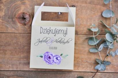 Pudełko na ciasto kwadratowe, tort weselny - Margaret nr 4 - Fioletowe kwiaty z akcentami zieleni