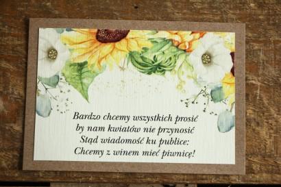 Bilecik dwuwarstwowy do zaproszeń ślubnych. Grafika ze słonecznikiem