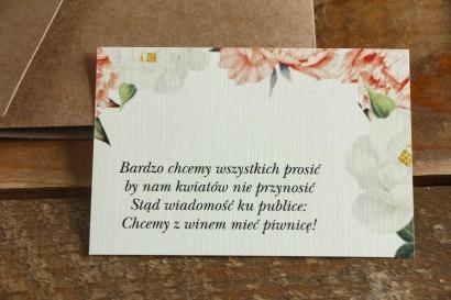 Bilecik do zaproszeń ślubnych. Brzoskwiniowa grafika z różą i piwonią