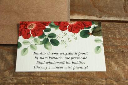 Bilecik do zaproszeń ślubnych. Grafika z czerwoną chińską różą oraz zielonymi gałązkami