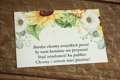 Bilecik do zaproszeń ślubnych. Grafika ze słonecznikiem