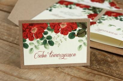 Winietki ślubne, wizytówki z personalizacją na stół weselny - Grafika z czerwoną chińską różą oraz zielonymi gałązkami