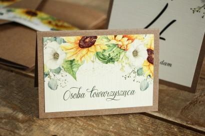 Winietki ślubne, wizytówki z personalizacją na stół weselny - Grafika ze słonecznikiem
