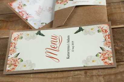 Ekologiczne Menu weselne - Brzoskwiniowa grafika z różą i piwonią