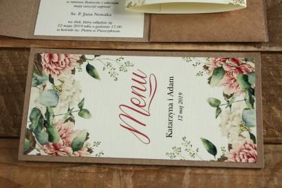 Ekologiczne Menu weselne - grafika z białymi i różowymi piwoniami oraz gałązkami eukaliptusa