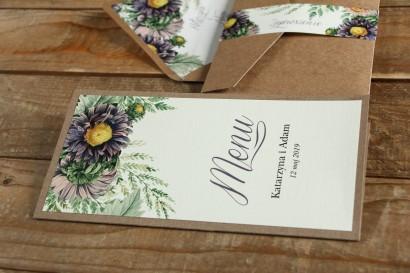 Ekologiczne Menu weselne - grafika z astrami w odcieniach fioletu oraz gałązkami paproci