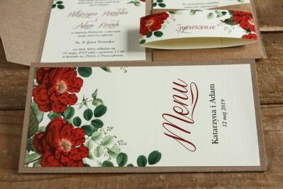 Ekologiczne Menu weselne - grafika z czerwoną chińską różą oraz zielonymi gałązkami