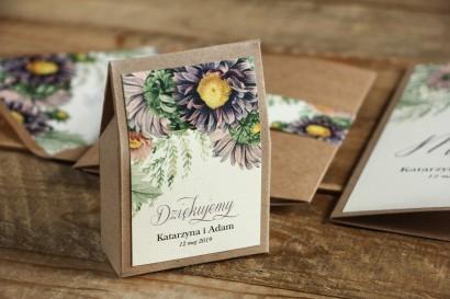 Ekologiczne Pudełeczko na słodkości jako podziękowania dla gości weselnych - Grafika z astrami w odcieniach fioletu