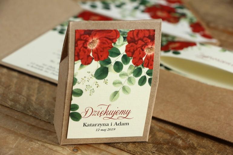 Ekologiczne Pudełeczko na słodkości jako podziękowania dla gości weselnych - Grafika z czerwoną chińską różą