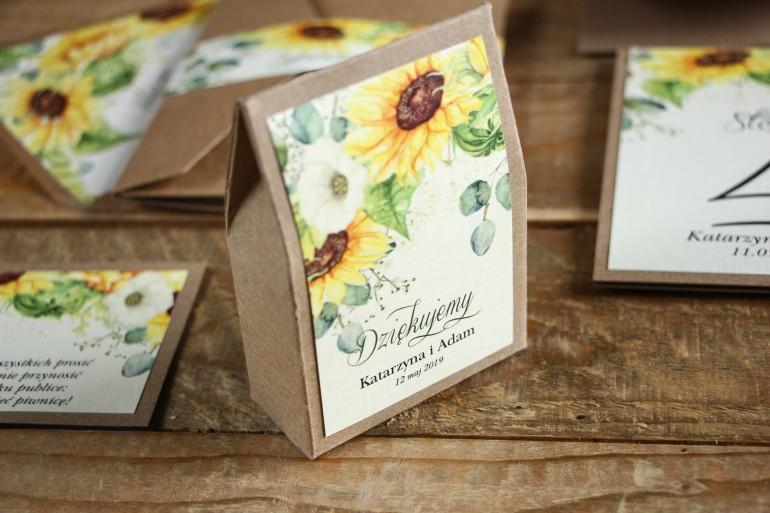 Ekologiczne Pudełeczko na słodkości jako podziękowania dla gości weselnych - Grafika ze słonecznikiem