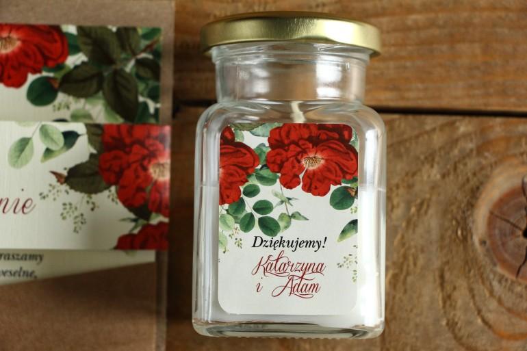 Świeczki - podziękowania i upominki dla gości weselnych. Etykieta z czerwoną chińską różą