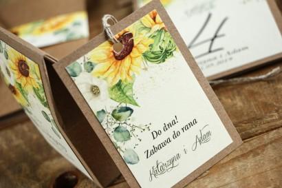 Zawieszki na butelki weselne - Grafika ze słonecznikiem