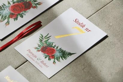 Numery stolików, stół weselny, Ślub - Cykade nr 2 ze złoceniem - Intensywnie czerwone róże