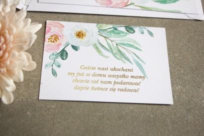 Bilecik do zaproszeń ślubnych ze złoceniem w stylu Glamour. Subtelny wzór z różowymi i białymi piwoniami