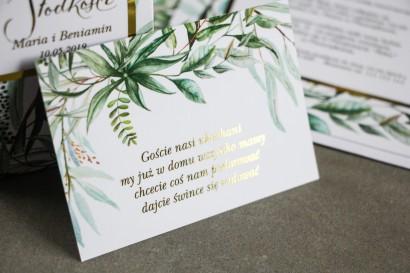 Bilecik do zaproszeń ślubnych ze złoceniem w stylu Glamour. Botaniczny motyw Greenery