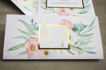 Menu weselne ze złoceniem w stylu Glamour - Subtelny wzór z różowymi i białymi piwoniami