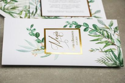 Menu weselne ze złoceniem w stylu Glamour - Botaniczny motyw Greenery