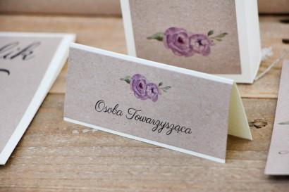 Winietki na stół weselny, ślub -  Margaret nr 4 - Ekologiczne - Fioletowe róże z akcentem zieleni