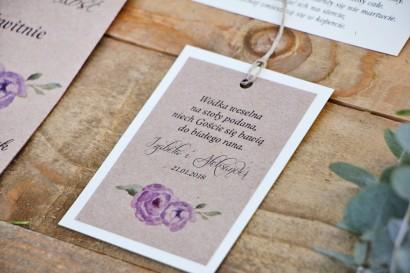 Zawieszka na butelkę, wódka weselna, ślub - Margaret nr 4 - Fioletowe kwiaty z akcentem zieleni