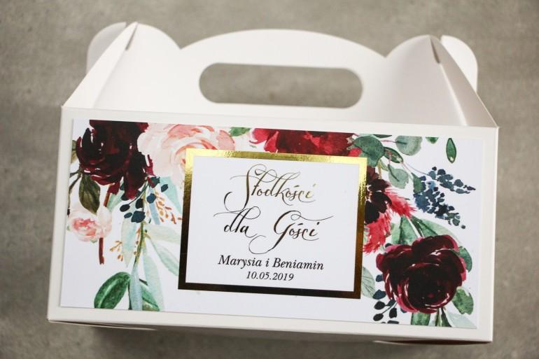 Pudełko na Ciasto weselne (prostokątne) ze złoceniem - podziękowania dla gości weselnych. Burgundowe i bordowe piwonie