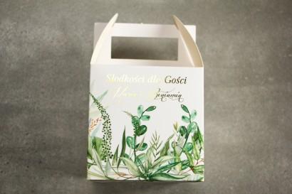 Pudełko na Ciasto weselne (kwadratowe) ze złoceniem - podziękowania dla gości weselnych. Botaniczny motyw Greenery