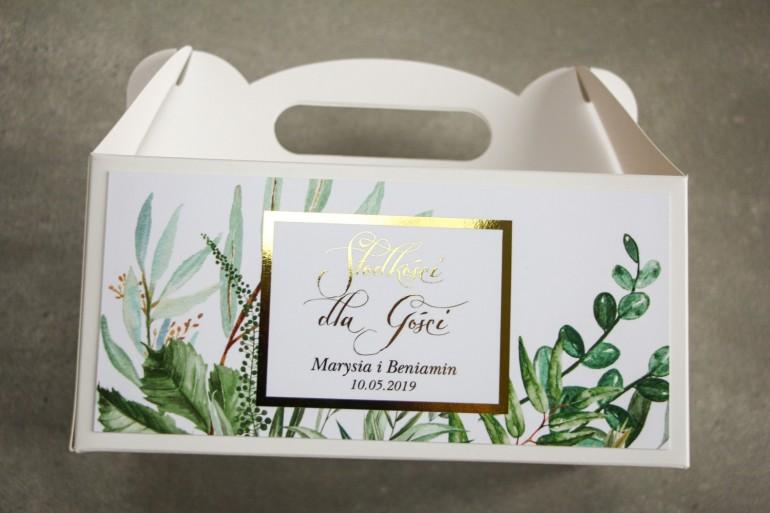 Pudełko na Ciasto weselne (prostokątne) ze złoceniem - podziękowania dla gości weselnych. Botaniczny motyw Greenery