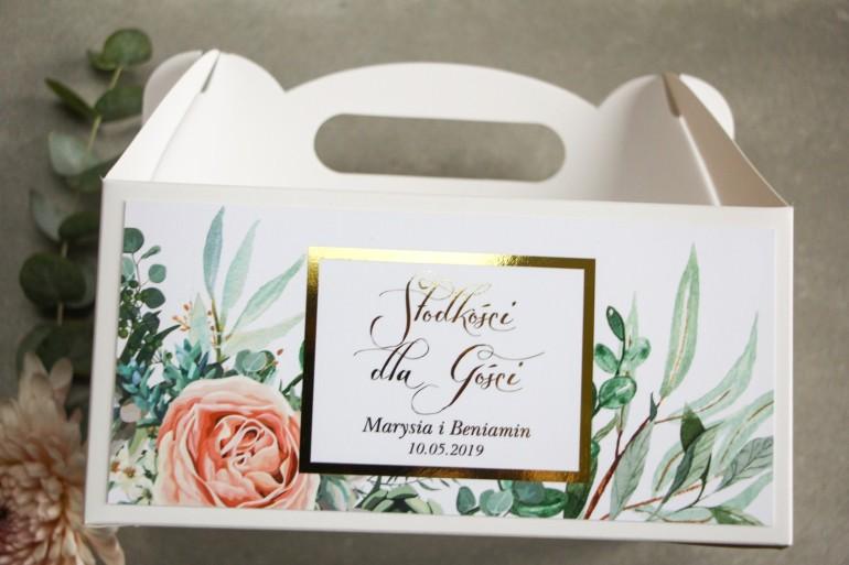 Pudełko na Ciasto weselne (prostokątne) ze złoceniem - podziękowania dla gości. Delikatne brzoskwiniowe piwonie