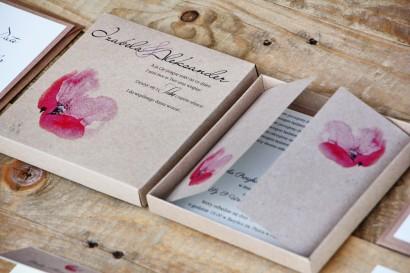 Efektowne zaproszenie ślubne w pudełku - Ekologiczne Margaret nr 5 - Różowy polny mak