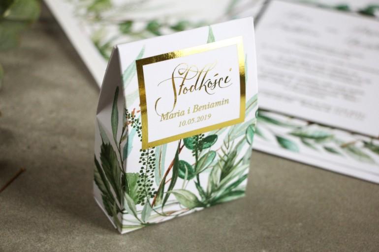 Pudełeczko na słodkości ze złoceniem, podziękowania dla gości weselnych - Botaniczny motyw Greenery