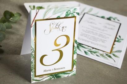 Numery stolików weselnych ze złoceniem w stylu Glamour - Botaniczny motyw Greenery