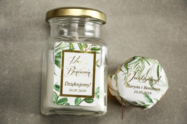 Świeczki - podziękowania dla gości weselnych w stylu Glamour. Złocenie na etykiecie oraz Botaniczny motyw Greenery