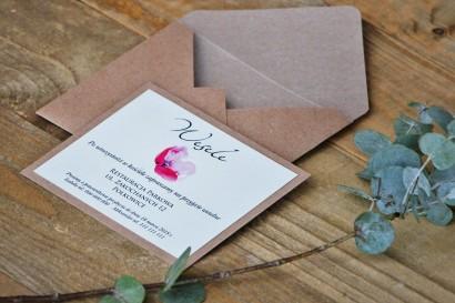 Bilecik dwuwarstwowy prezenty wesele Margaret nr 5 - Ekologiczne - Różowy mak