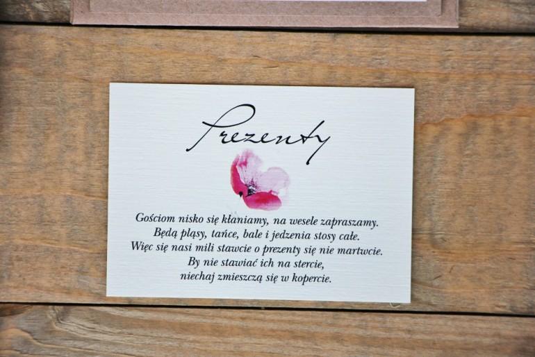 Bilecik do zaproszenia 105 x 74 mm prezenty ślubne wesele - Margaret nr 5 - Ekologiczne - Polne maki