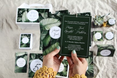 Botaniczne zaproszenia ślubne w etui z liśćmi bananowca - zestaw