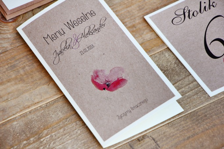 Menu weselne, stół weselny - Margaret nr 5 - Ekologiczne - Różowy mak