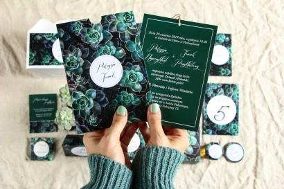 Botaniczne zaproszenia ślubne w etui z eukaliptusami - Zestaw