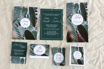 Botaniczne zaproszenia ślubne w etui z kaktusem wraz z dodatkami i podziękowaniami