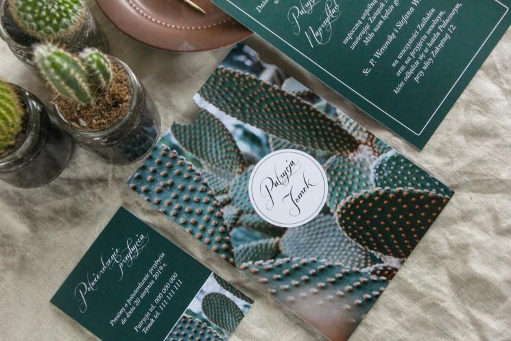 Botaniczne zaproszenia ślubne w etui z kaktusem