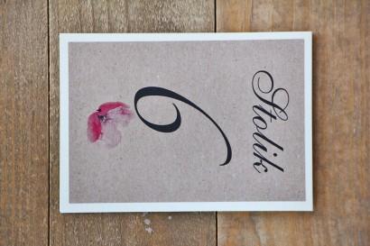 Numery stolików, stół weselny, ślub - Margaret nr 5 - Różowy mak