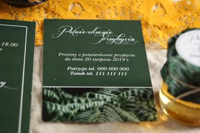 Bilecik do botanicznych zaproszeń ślubnych. Kolor zielony